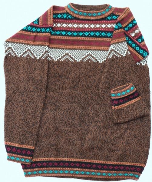 Pullover Schneeflocke braun melliert