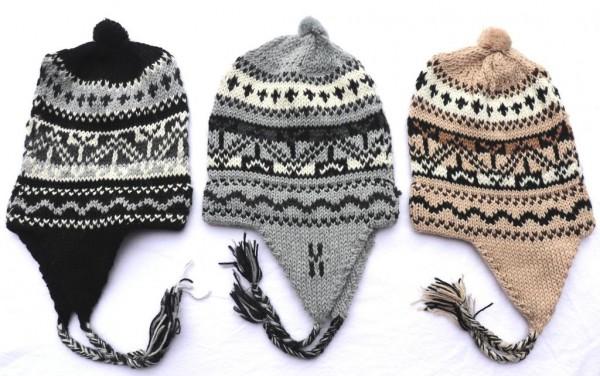 Alpaka Mütze Peru stilisiertes Muster 54 cm bis 58 cm