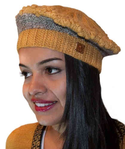 Baskenmütze gelb-grau